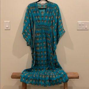 Calypso block print 100% linen maxi boho dress
